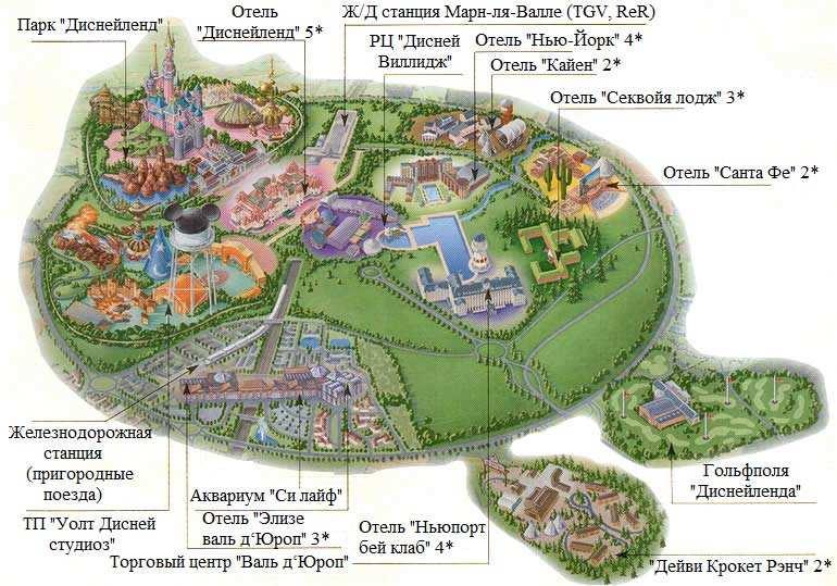 Карта Диснейленда в Париже на русском