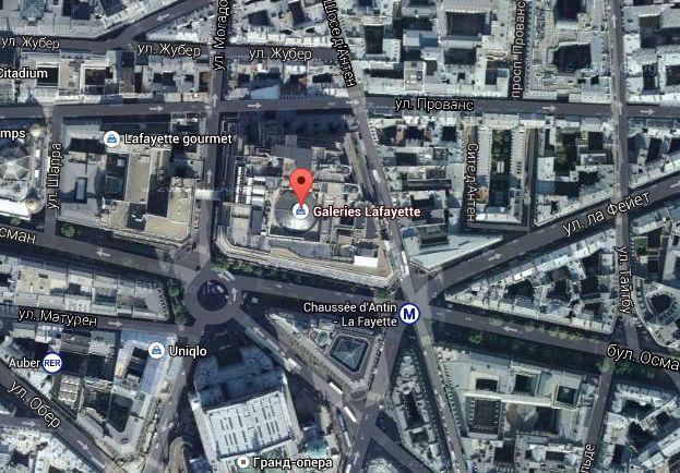 Универмаг Галерея Лафайет на карте Парижа